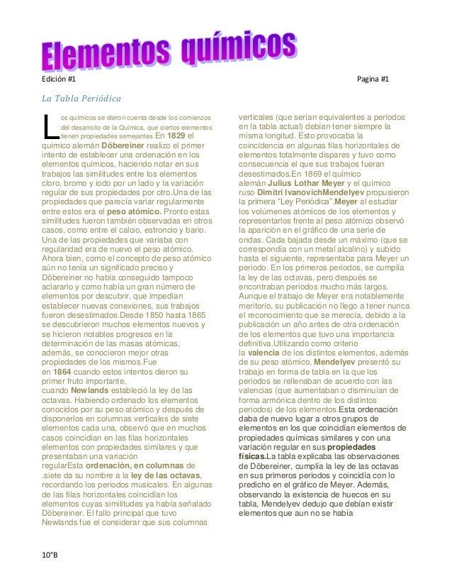 Edición #1                                                                                    Pagina #1La Tabla Periódica ...