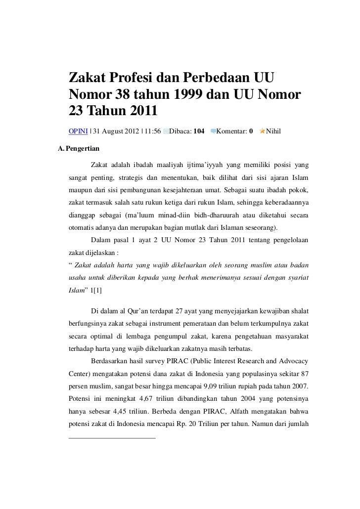 Zakat profesi dan perbedaan uu nomor 38 tahun 1999 dan uu nomor 23 tahun 2011