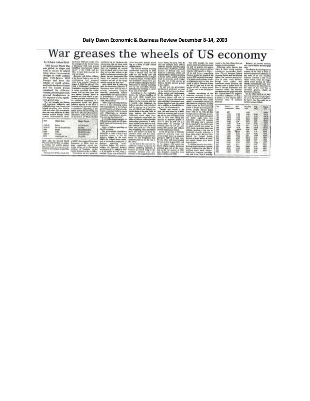 Daily Dawn Economic & Business Review December 8-14, 2003