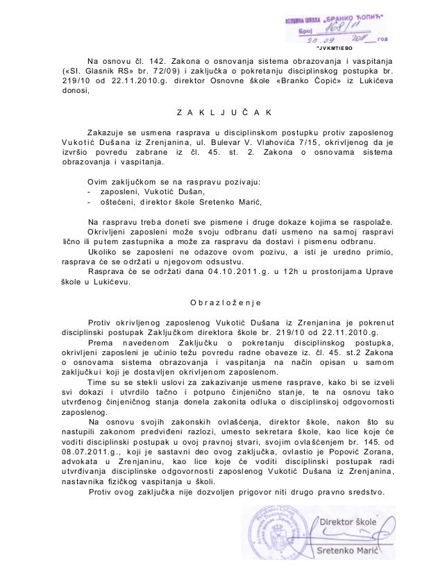 """ J V K M T I E B ONa osnovu čl. 142. Zakona o osnovanja sistema obrazovanja i vaspitanja(«SI. Glasnik RS» br. 72/09) i za..."