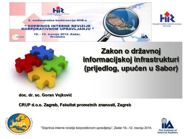Zakon o državnoj informacijskoj infrastrukturi (prijedlog, upućen u Sabor) doc. dr. sc. Goran Vojković CRUP d.o.o. Zagreb,...