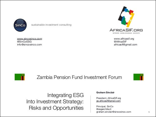 Integrating ESG Into Investment Strategy: Risks and Opportunities Graham Sinclair   President, AfricaSIF.org   gs.africasi...