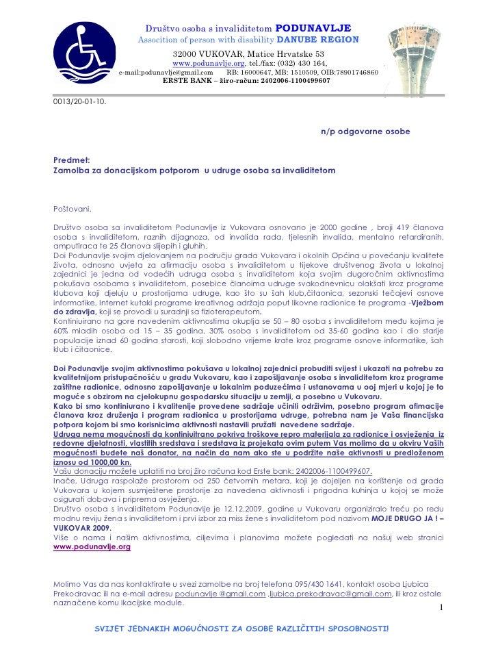 Društvo osoba s invaliditetom PODUNAVLJE                       Assocition of person with disability DANUBE REGION         ...