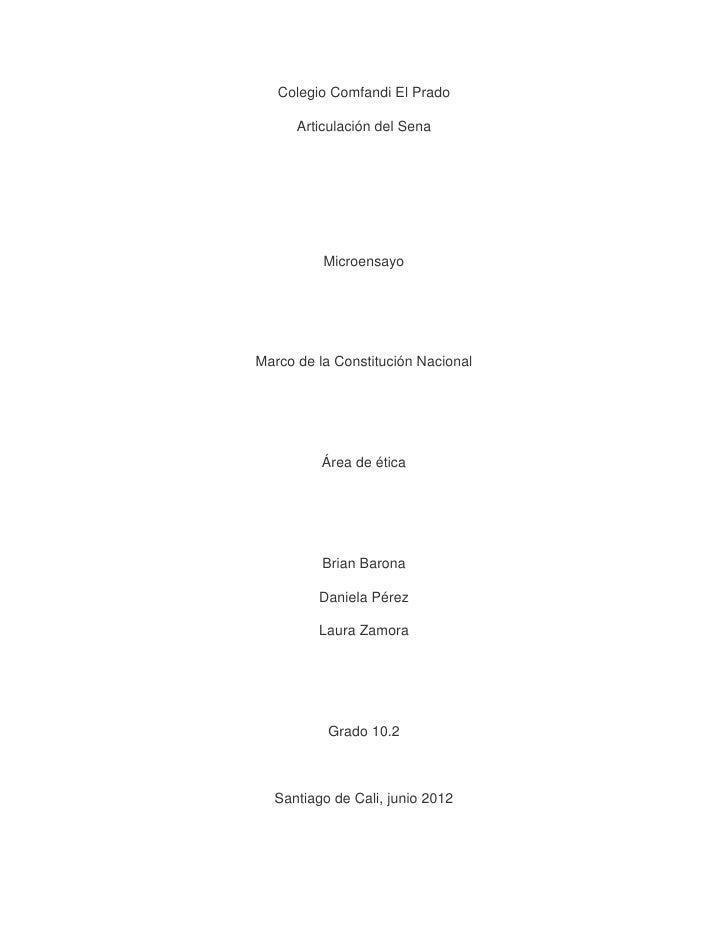 Colegio Comfandi El Prado      Articulación del Sena          MicroensayoMarco de la Constitución Nacional          Área d...