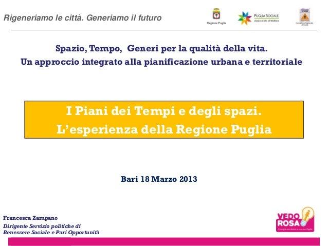 I Piani dei Tempi e degli spazi. L'esperienza della Regione Puglia