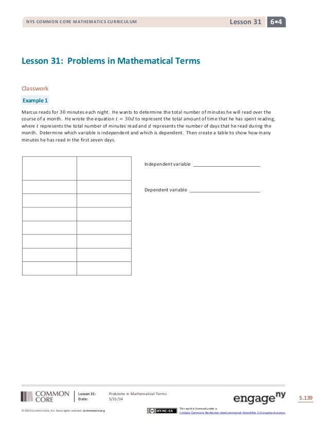 Lesson 31: Problems in Mathematical Terms Date: 5/15/14 S.139 139 © 2013 Common Core, Inc. Some rights reserved. commoncor...