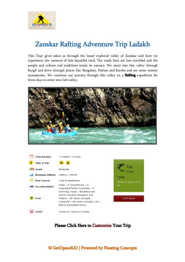 © GetUpandGO | Powered by Floating Concepts Zanskar Rafting Adventure Trip Ladakh This Tour gives takes us through the les...