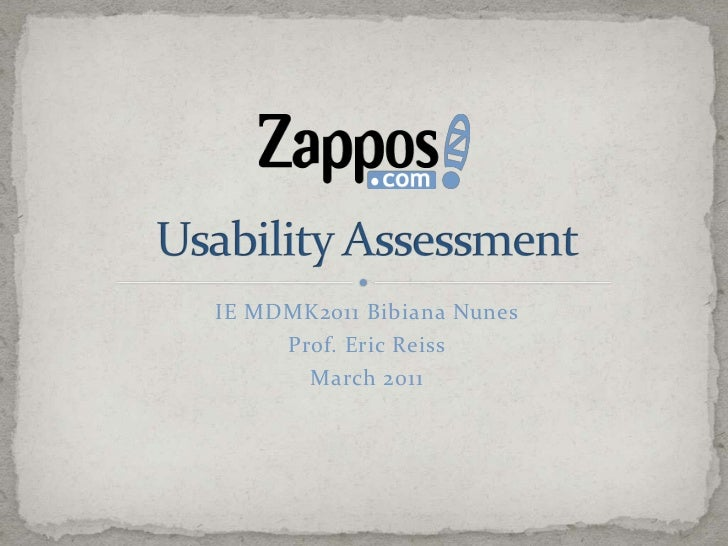 Zappos Usability Assessment - March 2011
