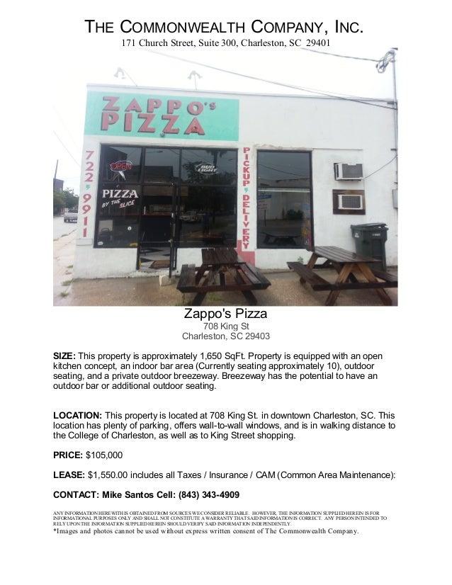 Zappo's Pizza 708 King St Charleston, SC 29403