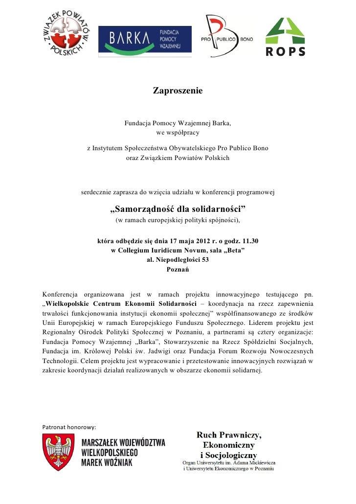 Zaproszenie                              Fundacja Pomocy Wzajemnej Barka,                                        we współp...