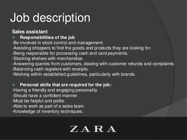 company profile  zara   job description sales assistant
