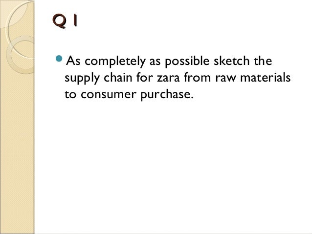 as completely as possible sketch the supply chain for zara from raw materials to consumer purchase A case study on zara as completely as possible, sketch the supply chain for zara from sketch the supply chain for zara from raw materials to consumer purchase.