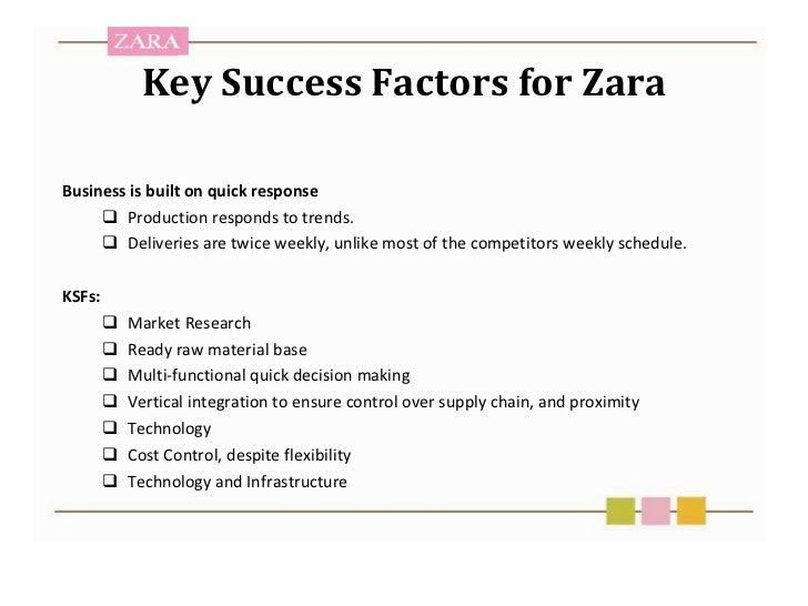 success factor for zara