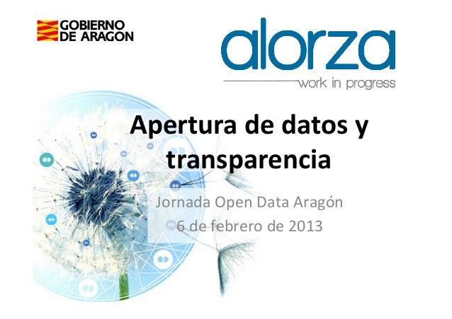 Apertura de datos y   transparencia    Jornada Open Data Aragón       6 de febrero de 2013    ...