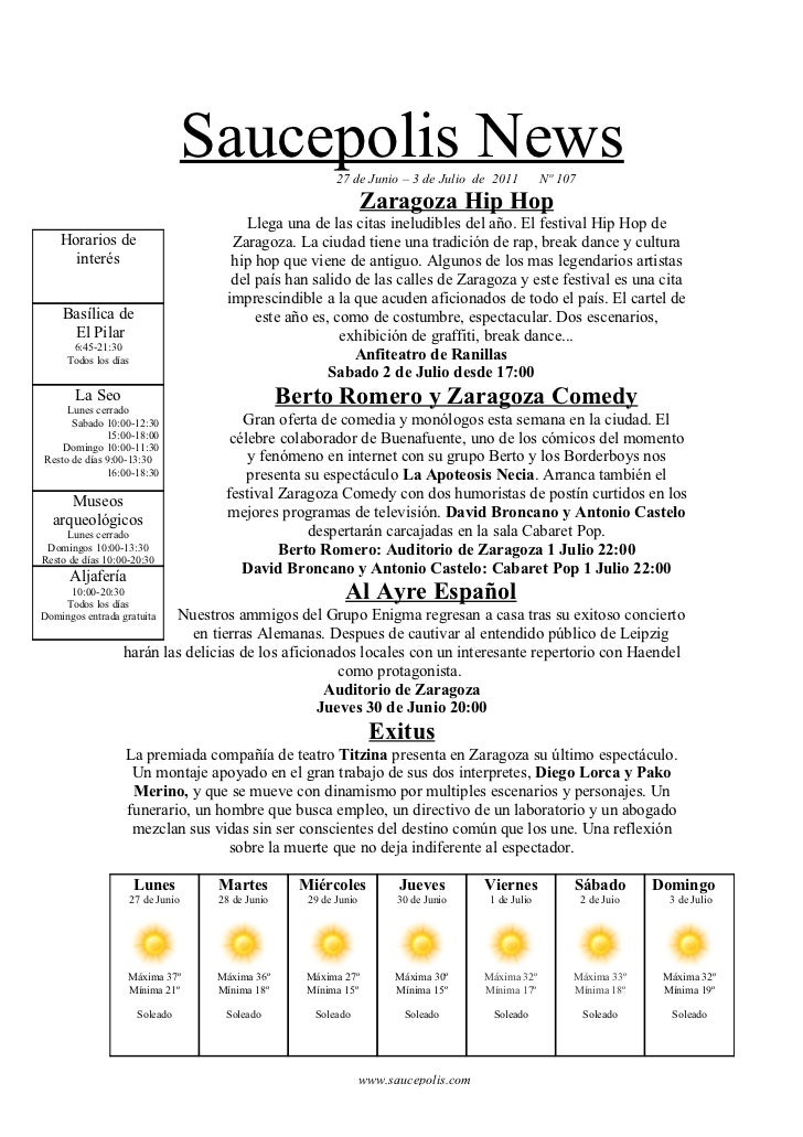 Saucepolis News        27 de Junio – 3 de Julio de 2011           Nº 107                                                  ...