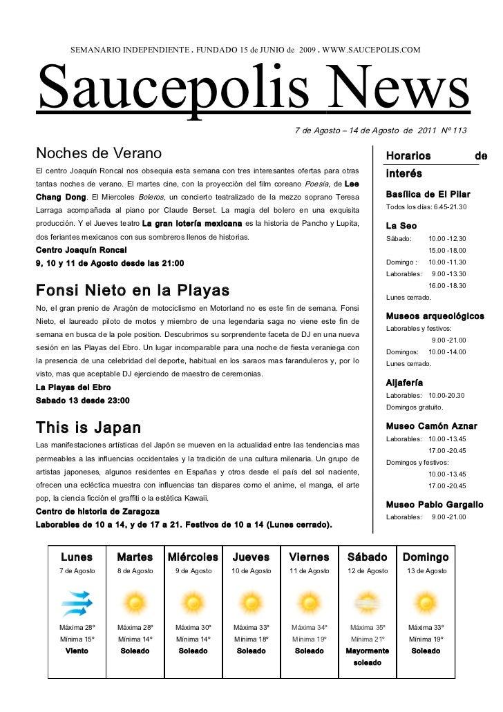 SEMANARIO INDEPENDIENTE . FUNDADO 15 de JUNIO de 2009 . WWW.SAUCEPOLIS.COMSaucepolis News                                 ...