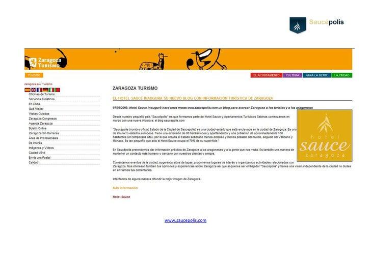 Artículo de Saucepolis y el Hotel Sauce en Zaragoza Turismo