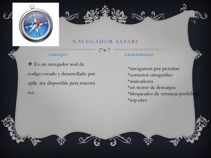 Navegador safari<br />caracteristicas<br />concepto<br />Es un navegador wed de codigocreado y desarrolladoporaplle .incdi...