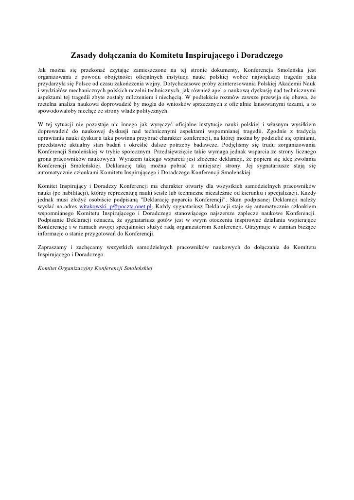 Zasady dołączania do Komitetu Inspirującego i DoradczegoJak można się przekonać czytając zamieszczone na tej stronie dokum...