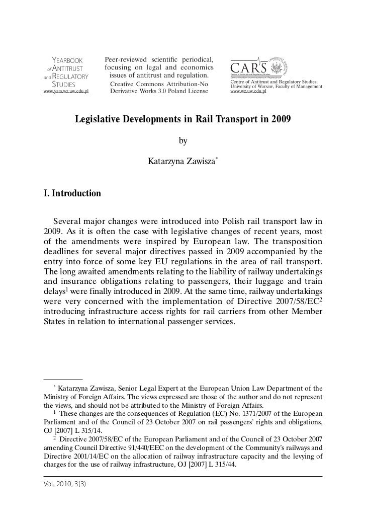 Zawisza   legislative developments in rail transport in 2009