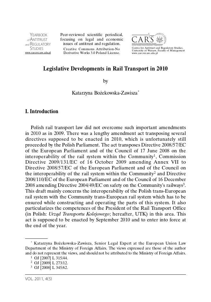 Legislative Developments in Rail Transport in 2010