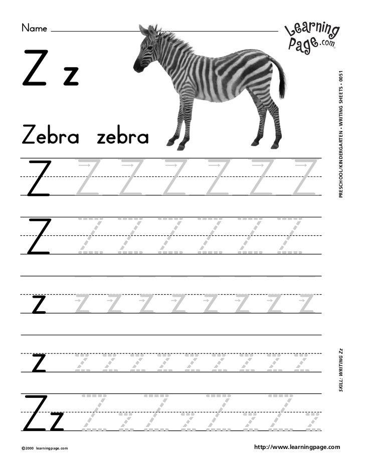 Worksheets A To Z Writing Image zb a z namezz writing sheets 0051zebra zebra preschoolkindergartenz zzzzzzz zzzzzzzzz skill zzzz z