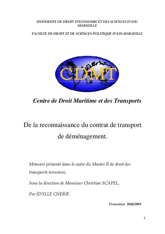1  UNIVERSITE DE DROIT D'ECONOMIE ET DES SCIENCES D'AIX- MARSEILLE FACULTE DE DROIT ET DE SCIENCES POLITIQUE D'AIX-MARSE...
