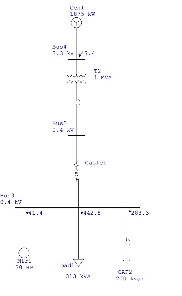 One-Line Diagram - OLV1 (Motor Acceleration Analysis) page 1 21:45:24 May 14, 2014 Project File: try Bus3 0.4 kV Bus4 3.3 ...