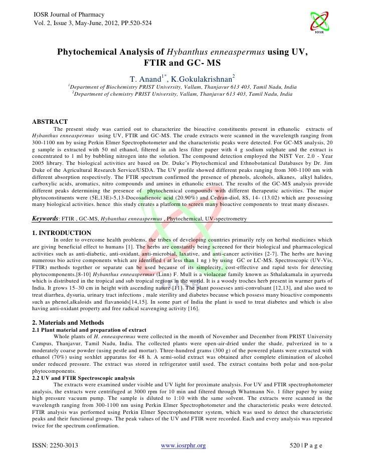 IOSR Journal of PharmacyVol. 2, Issue 3, May-June, 2012, PP.520-524          Phytochemical Analysis of Hybanthus enneasper...