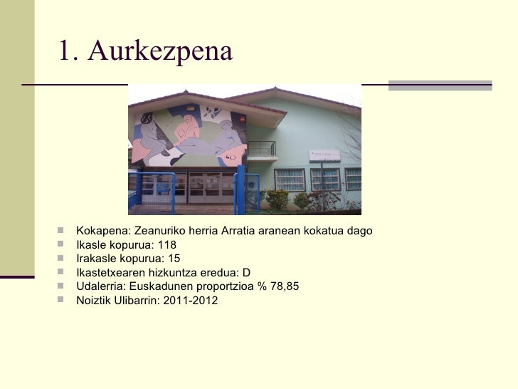 1. Aurkezpena   Kokapena: Zeanuriko herria Arratia aranean kokatua dago   Ikasle kopurua: 118   Irakasle kopurua: 15  ...