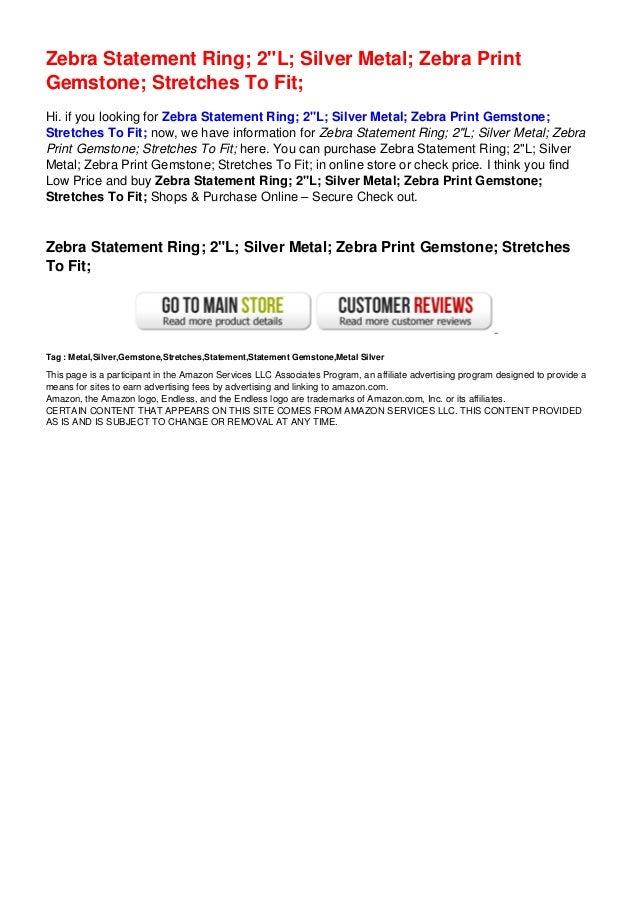 "Zebra Statement Ring; 2""L; Silver Metal; Zebra Print Gemstone; Stretches To Fit;"