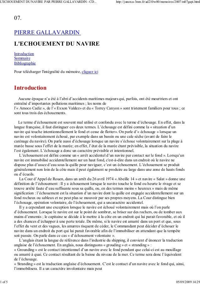 07. PIERRE GALLAVARDIN L'ECHOUEMENT DU NAVIRE Introduction Sommaire Bibliographie Pour télécharger l'intégralité du mémoir...