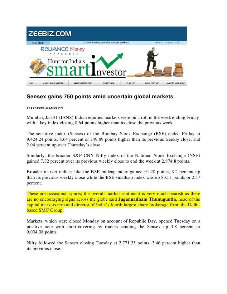 Sensex gains 750 points amid uncertain global markets 1/31/2009 1:13:00 PM   Mumbai, Jan 31 (IANS) Indian equities markets...
