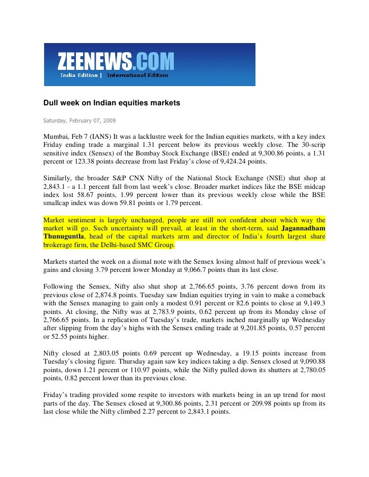 Zee News Feb 7, 2009 Dull Week On Indian Equities Markets