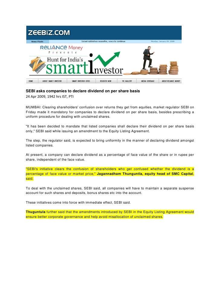 Zee Biz Apr 24, 2009 Sebi Asks Companies To Declare Dividend On Per Share Basis