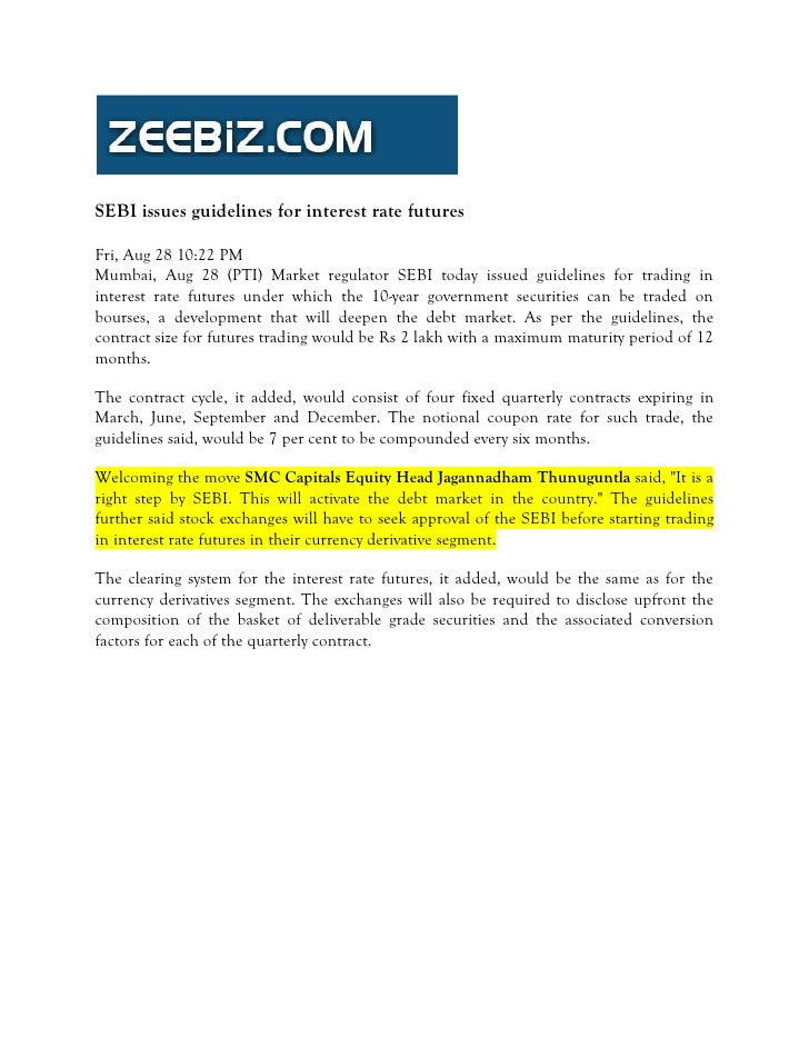 Zee Biz August 28, 2009 Sebi Issues Guidelines For Interest Rate Futures