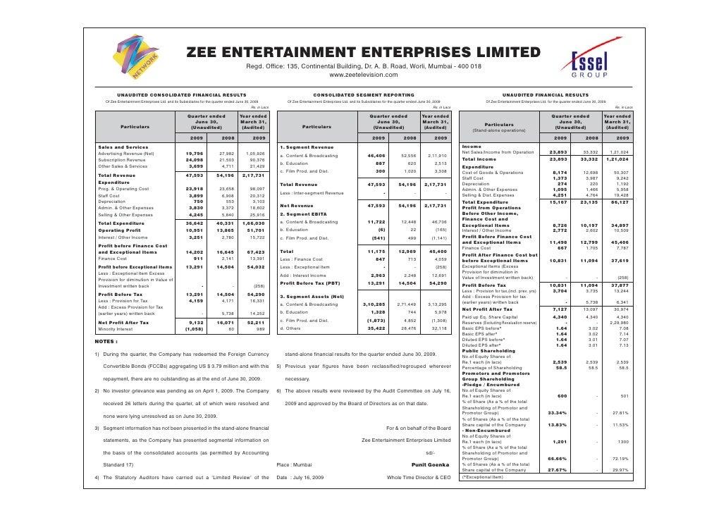 Zee Entertainment Q1