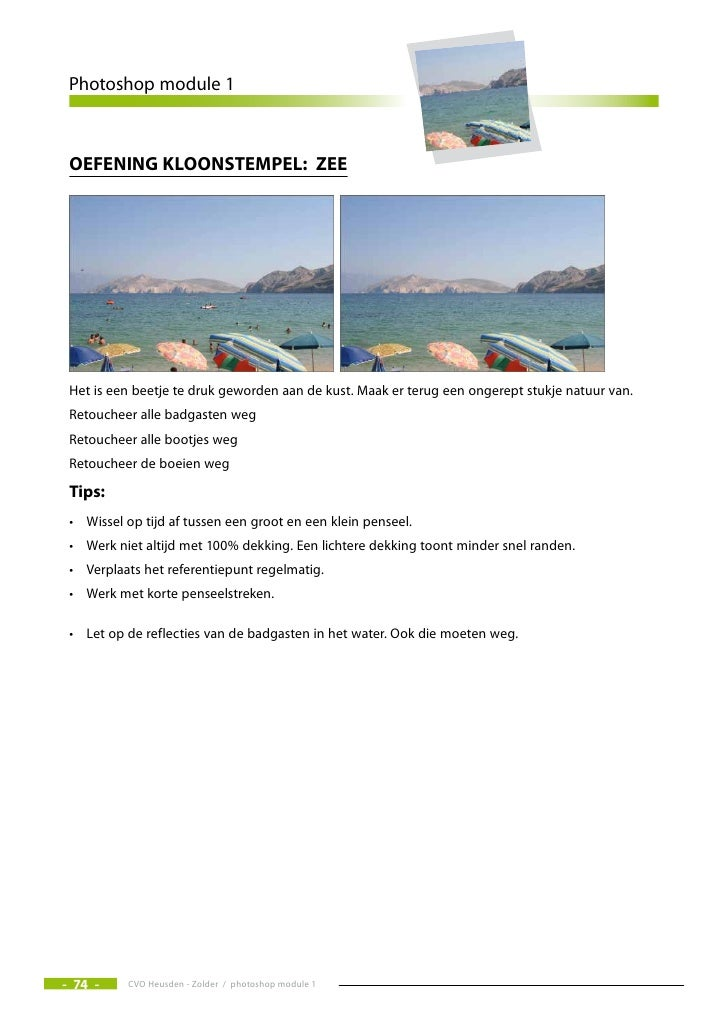 Photoshop module 1     Oefening klOOnstempel: zee                                                            Het i...