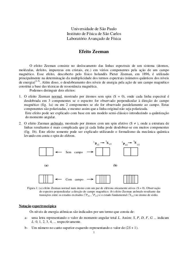 1 Universidade de São Paulo Instituto de Física de São Carlos Laboratório Avançado de Física Efeito Zeeman O efeito Zeeman...