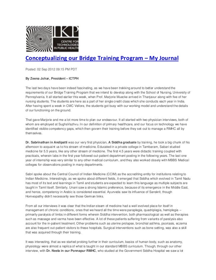 Conceptualizing our Bridge Training Program – My JournalPosted: 02 Sep 2012 09:15 PM PDTBy Zeena Johar, President – ICTPHT...