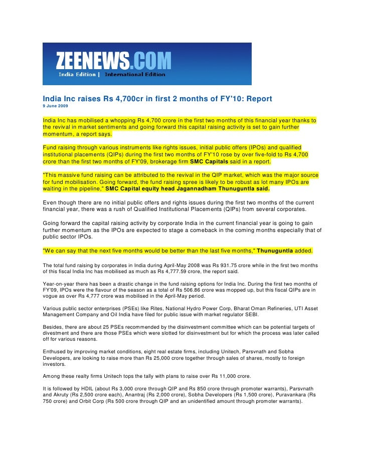Zee News June 9, 2009 India Inc Raises Rs 4,700cr In First 2 Months Of Fy10 Report