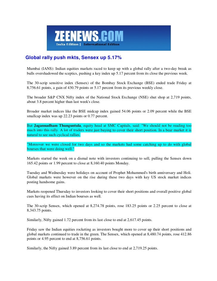 Zee News Mar 14, 2009 Global Rally Pushes Mkts, Sensex Up 5.17 Percent