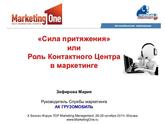 Zefirova роль контактного центра в маркетинге