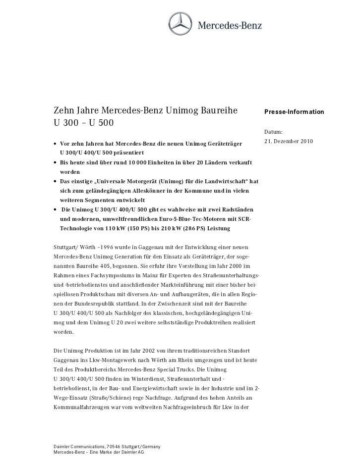 Zehn Jahre Mercedes-Benz Unimog Baureihe                                             Presse-InformationU 300 – U 500      ...