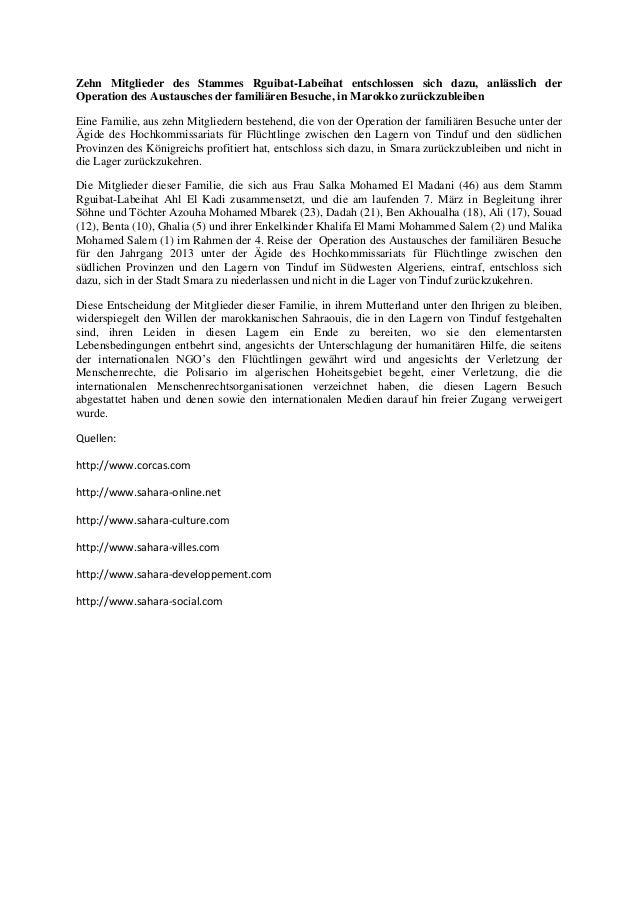 Zehn Mitglieder des Stammes Rguibat-Labeihat entschlossen sich dazu, anlässlich derOperation des Austausches der familiäre...