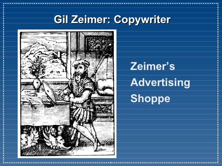 Gil Zeimer: Copywriter Zeimer's  Advertising Shoppe