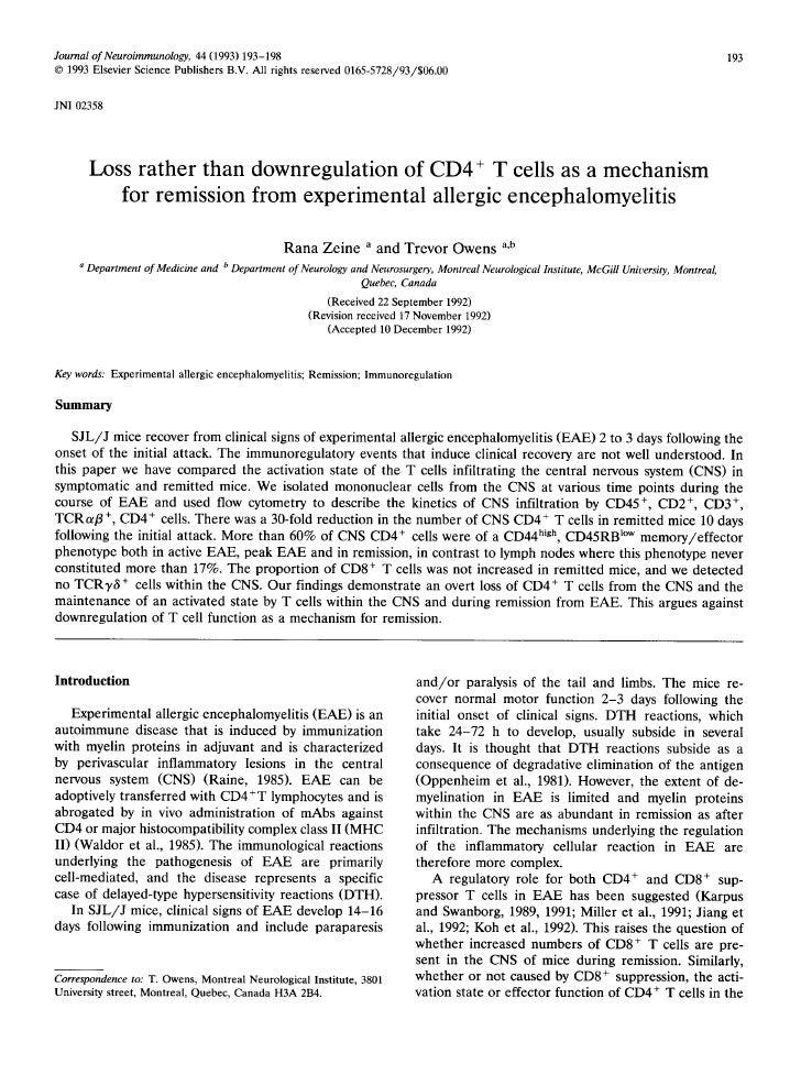Zeine & Owens, J. Neuroimmunology 1993