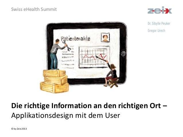© by Zeix 2013 Die richtige Information an den richtigen Ort – Applikationsdesign mit dem User Swiss eHealth Summit