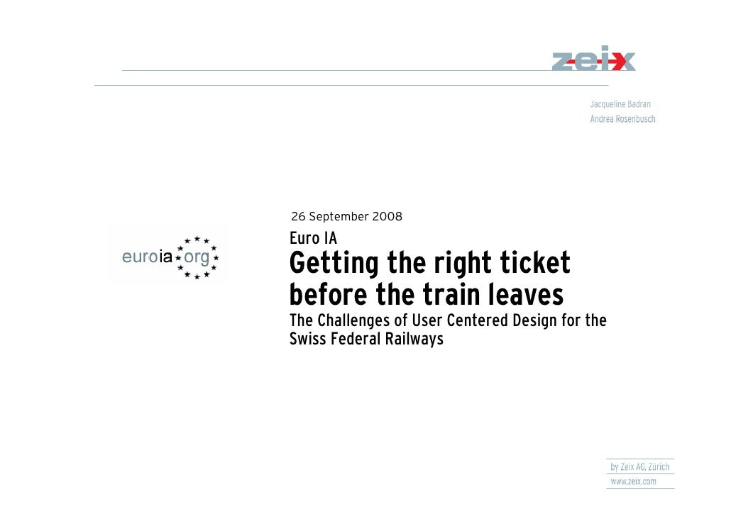 26 September 2008 Euro IA Getting the right ticket before the train leaves The Challenges of User Centered Design for the ...