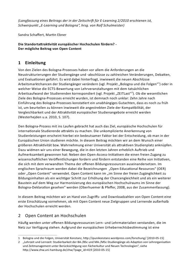 """(Langfassung eines Beitrags der in der Zeitschrif für E-Learning 2/2010 erschienen ist, Schwerpunkt """"E-Learning und Bologn..."""